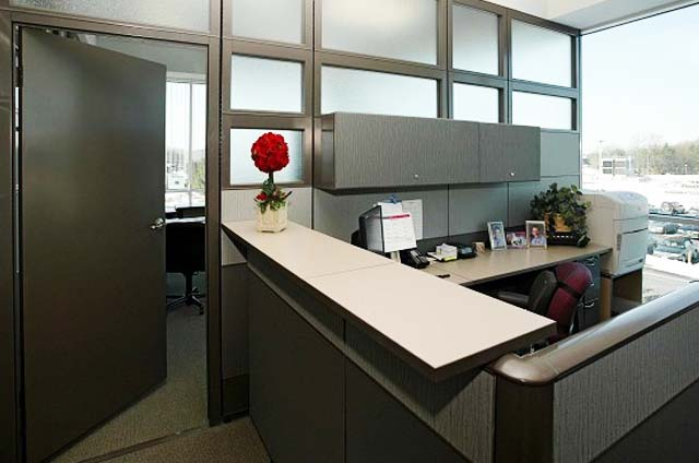 As Private Office with Door + Assistant Station. Not just a Cubicle.